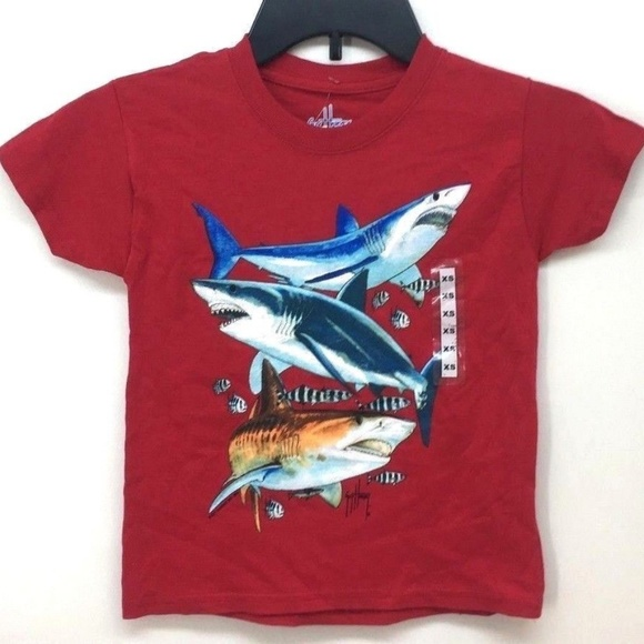 fa130948 Guy Harvey Shirts & Tops | Boys Shark Collage Ss Red Tshirt Sz Xs ...